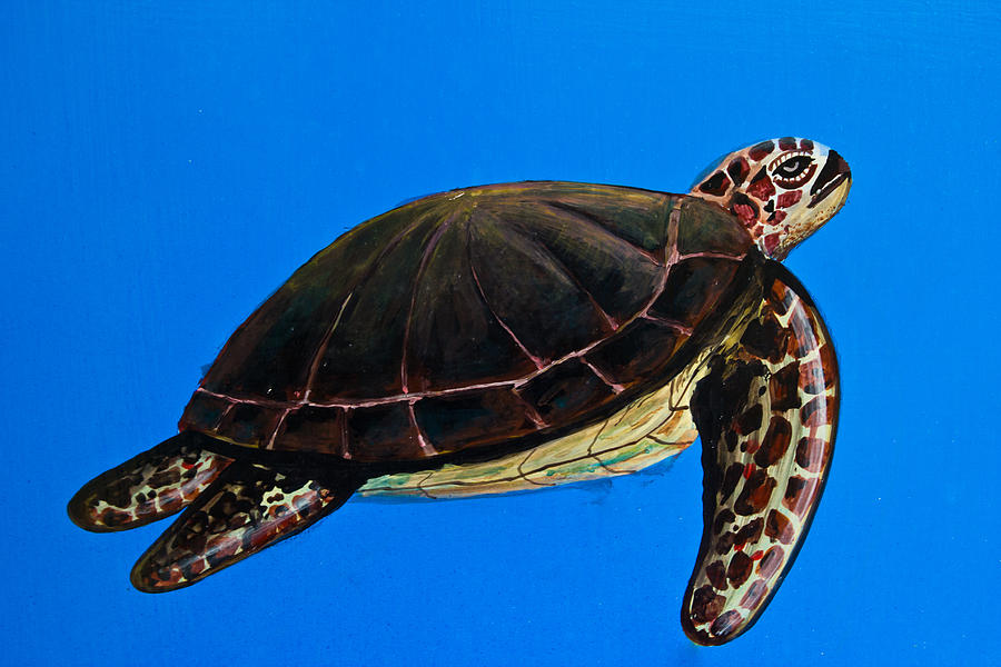 sea turtle painting on Temple of the Emerald Buddha wall  Tapestry - Textile