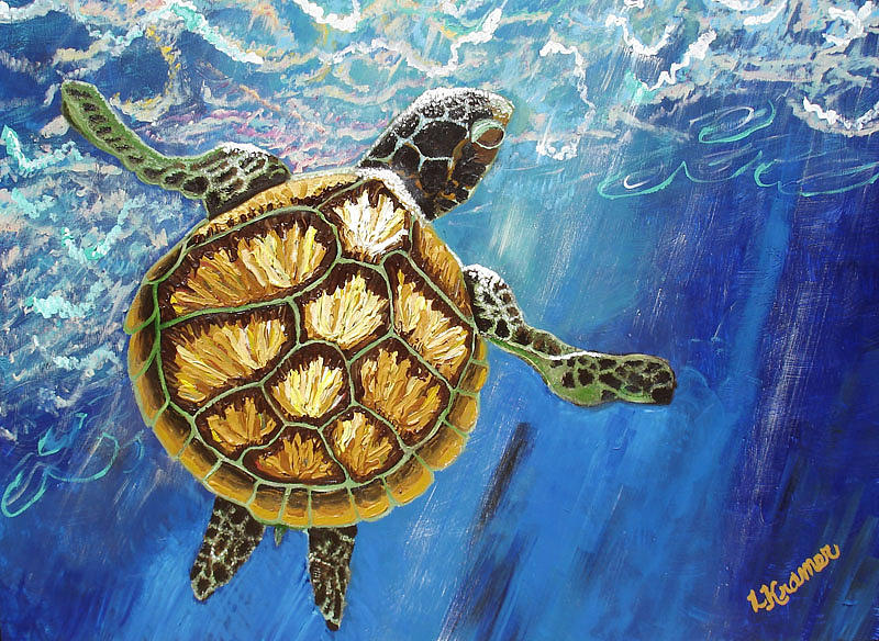 Sea Turtle Takes A Breath Painting  - Sea Turtle Takes A Breath Fine Art Print