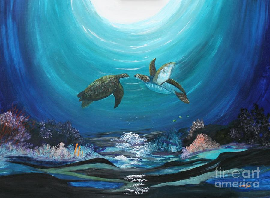 Sea Turtles Greeting Painting