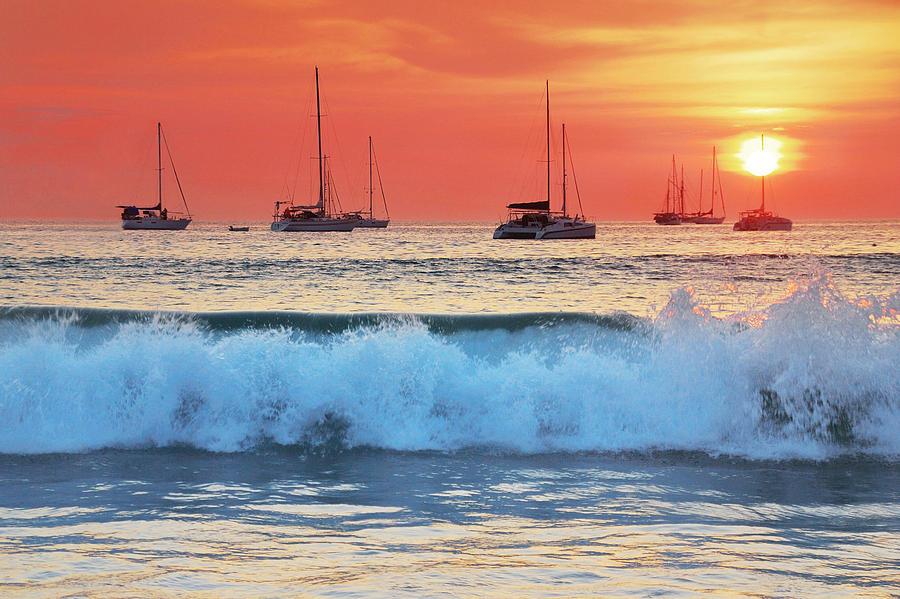 Abstract Photograph - Sea Waves At Sunset by Teerapat Pattanasoponpong