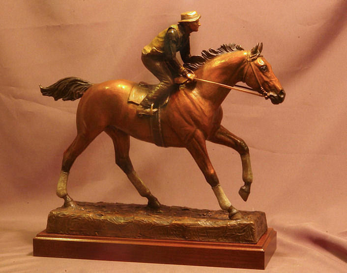 Seabiscuit Statue - Bronze Statue Of Racehorse Seabiscuit And George Woolf Sculpture