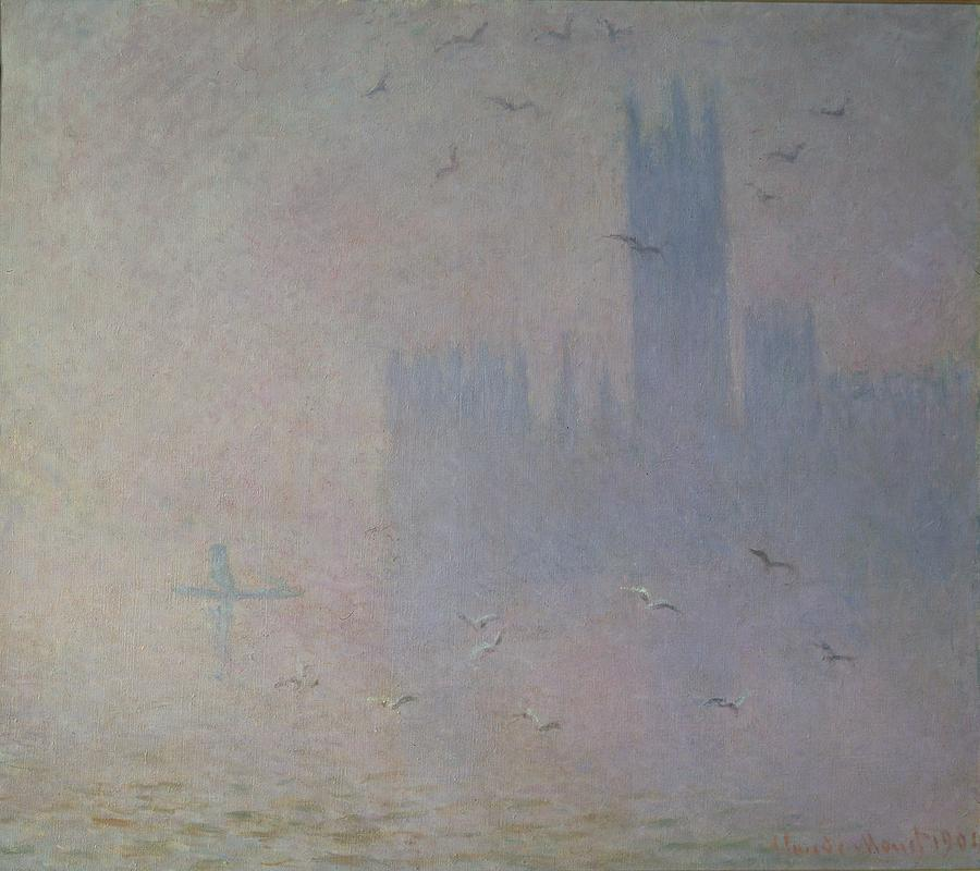 Seagulls Over The Houses Of Parliament Painting  - Seagulls Over The Houses Of Parliament Fine Art Print