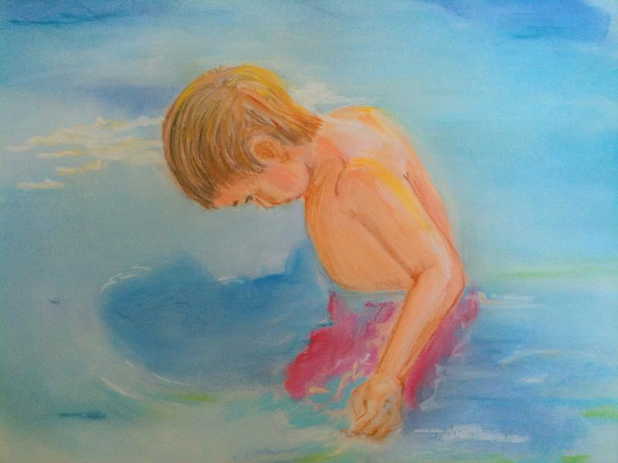 Children Pastel - Searching by Diana Prickett