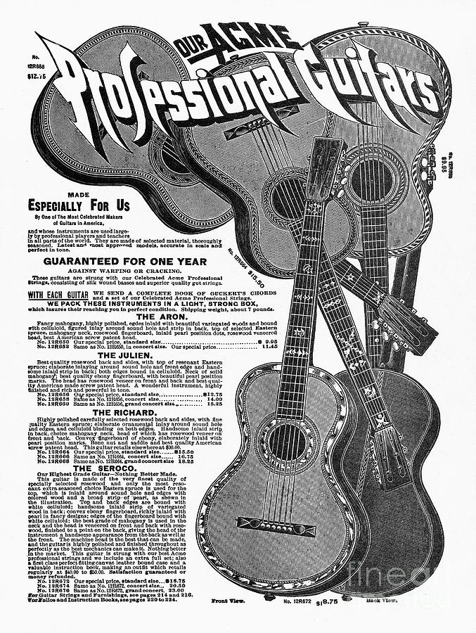 Sears Ad - Guitars 1902 Drawing  - Sears Ad - Guitars 1902 Fine Art Print