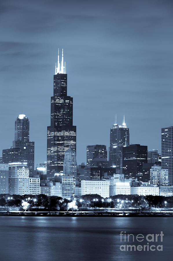 Sears Tower In Blue Photograph  - Sears Tower In Blue Fine Art Print