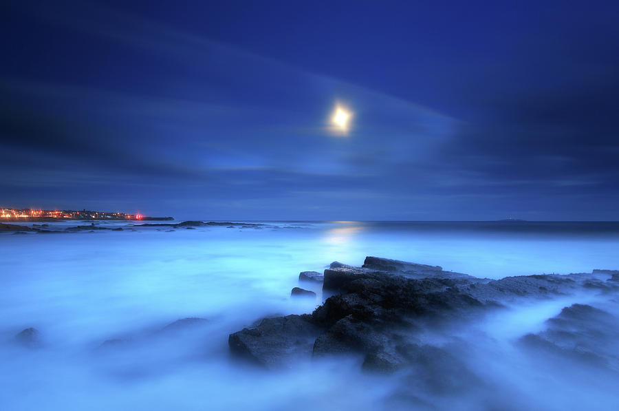 Seascape And Moonrise Photograph