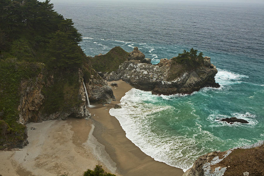 Seascape And Waterfall At Julia Pfeiffer Burns State Park Photograph