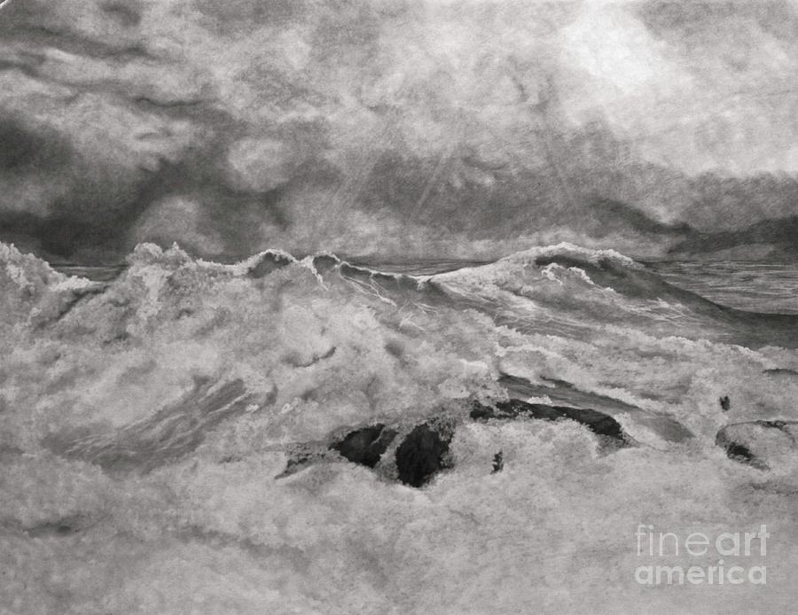 Seascape In Graphite Drawing  - Seascape In Graphite Fine Art Print