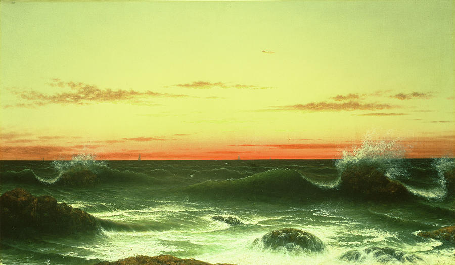 Seascape Sunset 1861 Painting  - Seascape Sunset 1861 Fine Art Print
