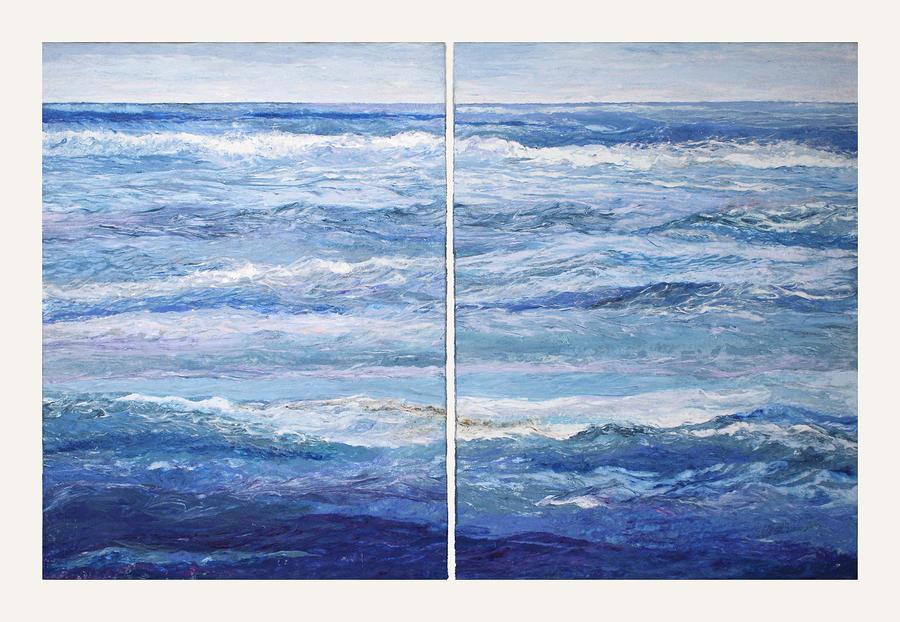 Seascape Painting - Seashore Diptych by Meg Black