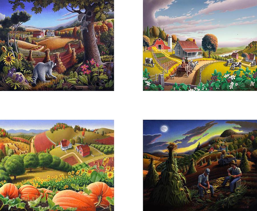 Folk Art Painting - seasonal farm country folk art-set of 4 farms prints amricana American Americana print series by Walt Curlee
