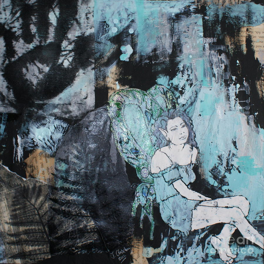 Seated Fairy With Hand 2 Mixed Media  - Seated Fairy With Hand 2 Fine Art Print