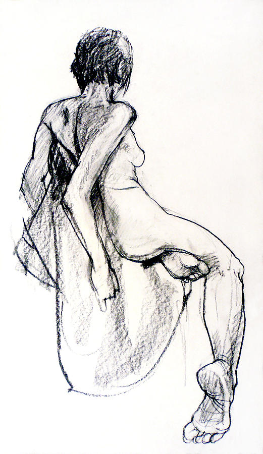 Seated Female Nude From Back Drawing  - Seated Female Nude From Back Fine Art Print