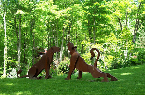 Denis Curtiss Sculpture - Seated Lioness And Stretching Lioness by Denis Curtiss