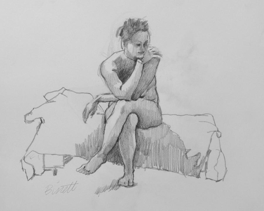 Seated Nude 2 Drawing  - Seated Nude 2 Fine Art Print