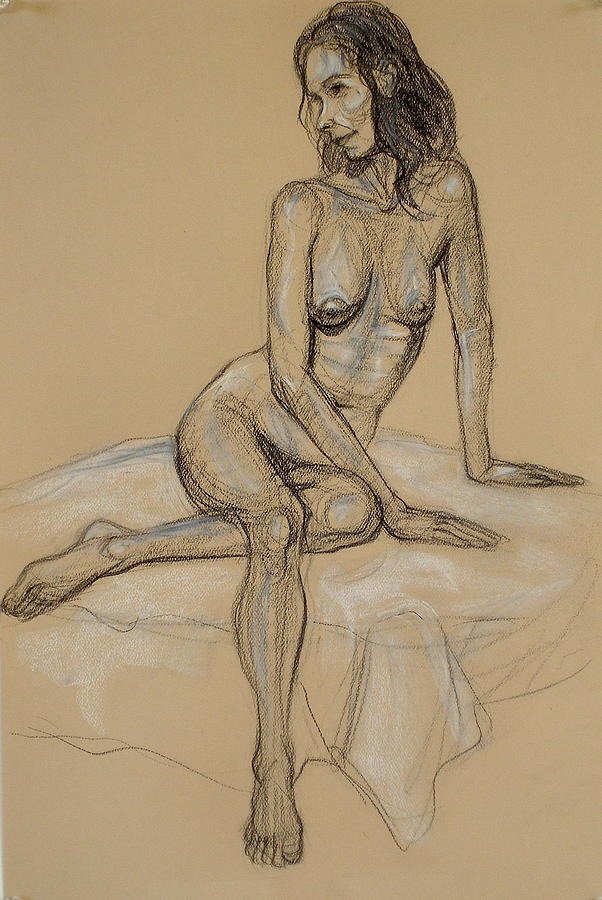 Seated Nude 4 Drawing  - Seated Nude 4 Fine Art Print