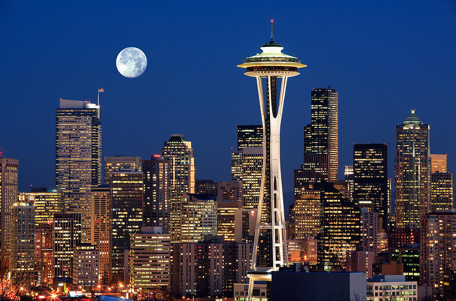 Seattle At Full Moon Photograph  - Seattle At Full Moon Fine Art Print