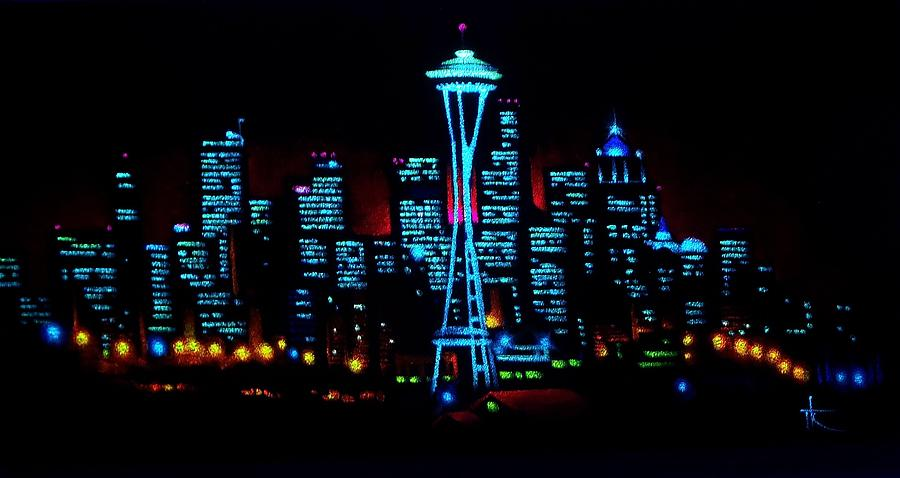 Seattle By Black Light Painting  - Seattle By Black Light Fine Art Print