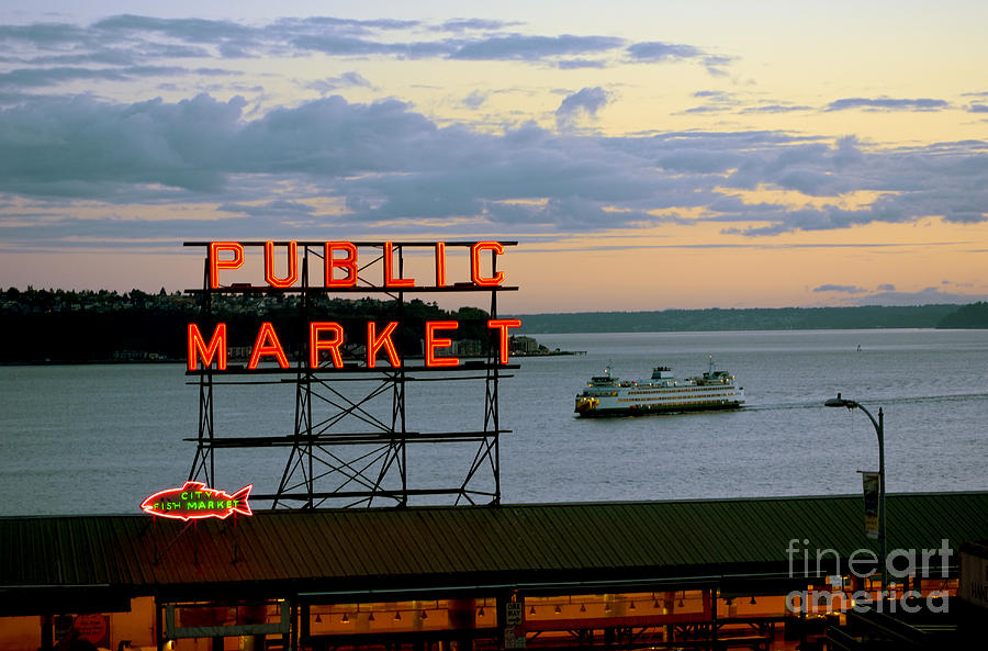 Seattle Ferry At Dusk Photograph