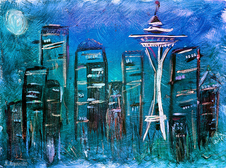 Seattle Skyline 2 Mixed Media