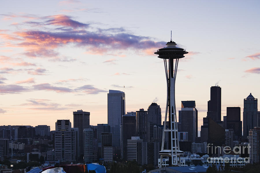 Seattle Skyline At Dusk Photograph