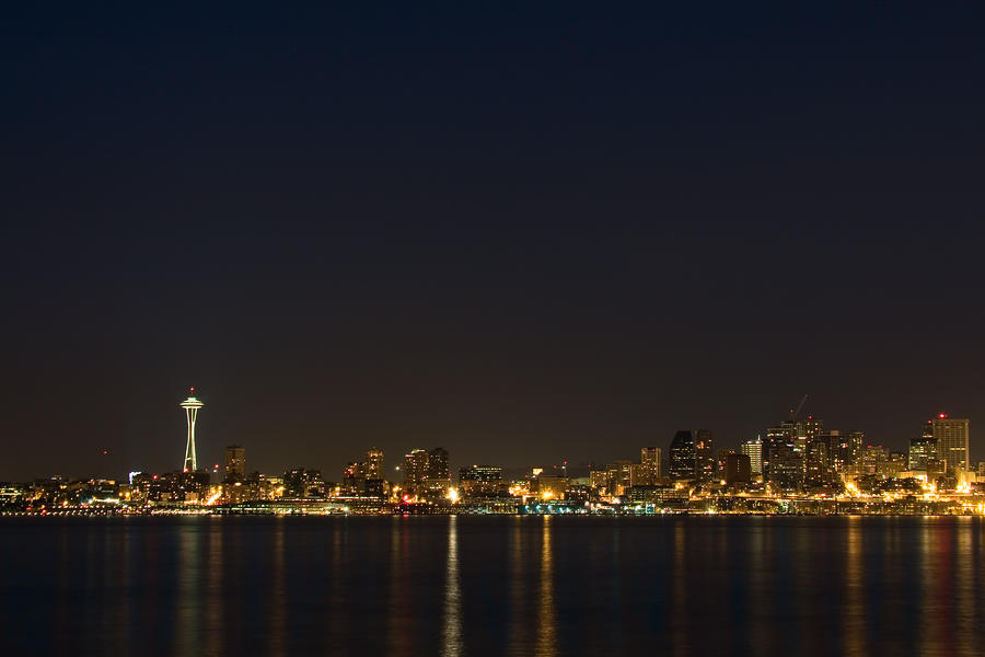 Seattle Skyline At Night Photograph