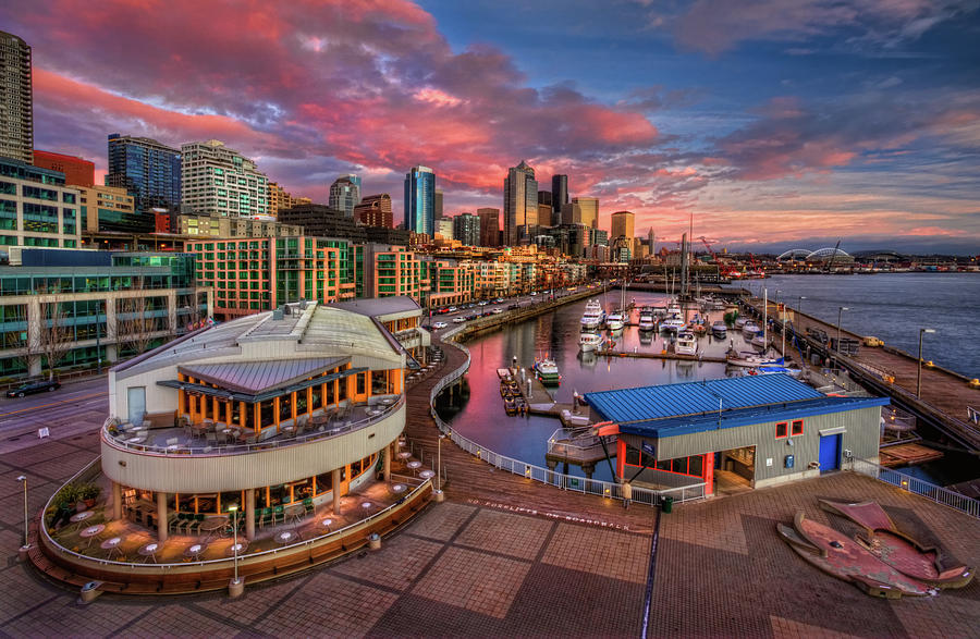 Seattle Waterfront At Sunset Photograph