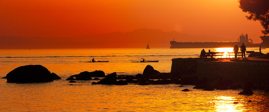 Seawall Silhouette Photograph