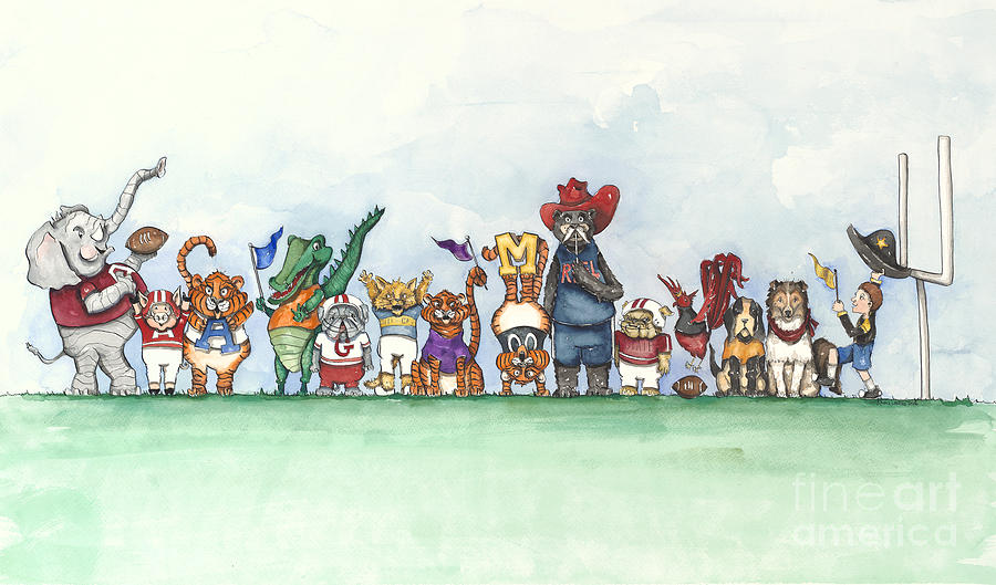 Sec Football Mascots - Sports Watercolor Print Painting