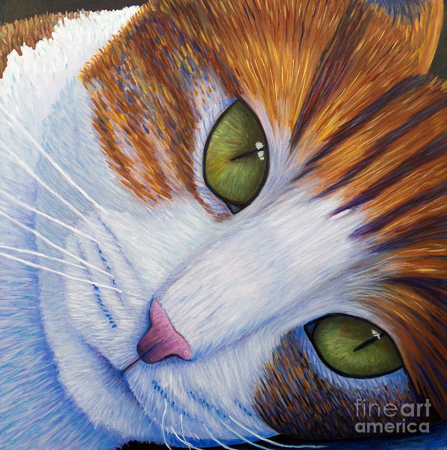 Cat Painting - Secrets by Brian  Commerford