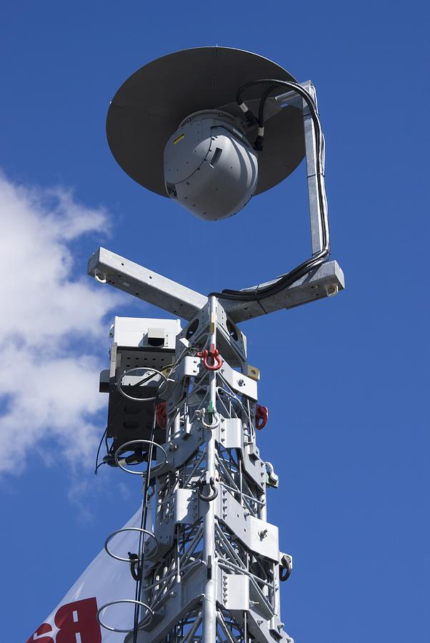 Anti-terrorism Photograph - Security Camera On Tower. by Mark Williamson