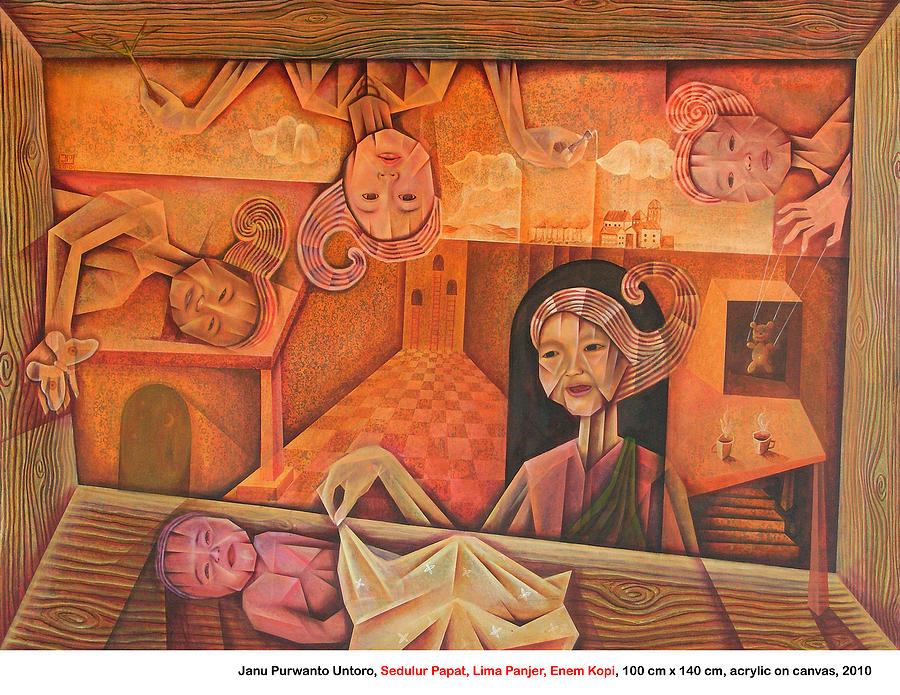 Guardian In Javanesse Philosophy Painting - Sedulur Papat Lima Panjer Enem Kopi by Janu Untoro