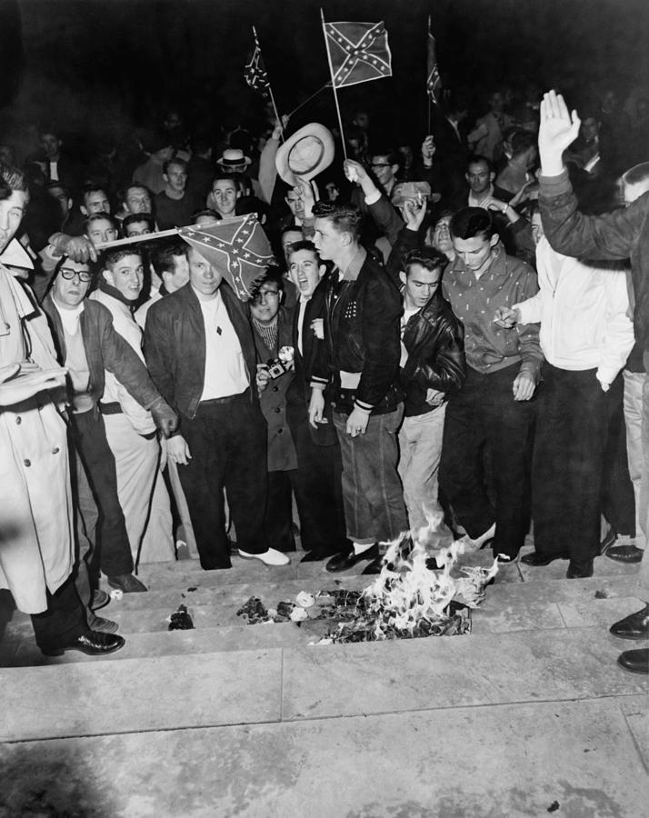 Segregationist Protest. White Students Photograph  - Segregationist Protest. White Students Fine Art Print