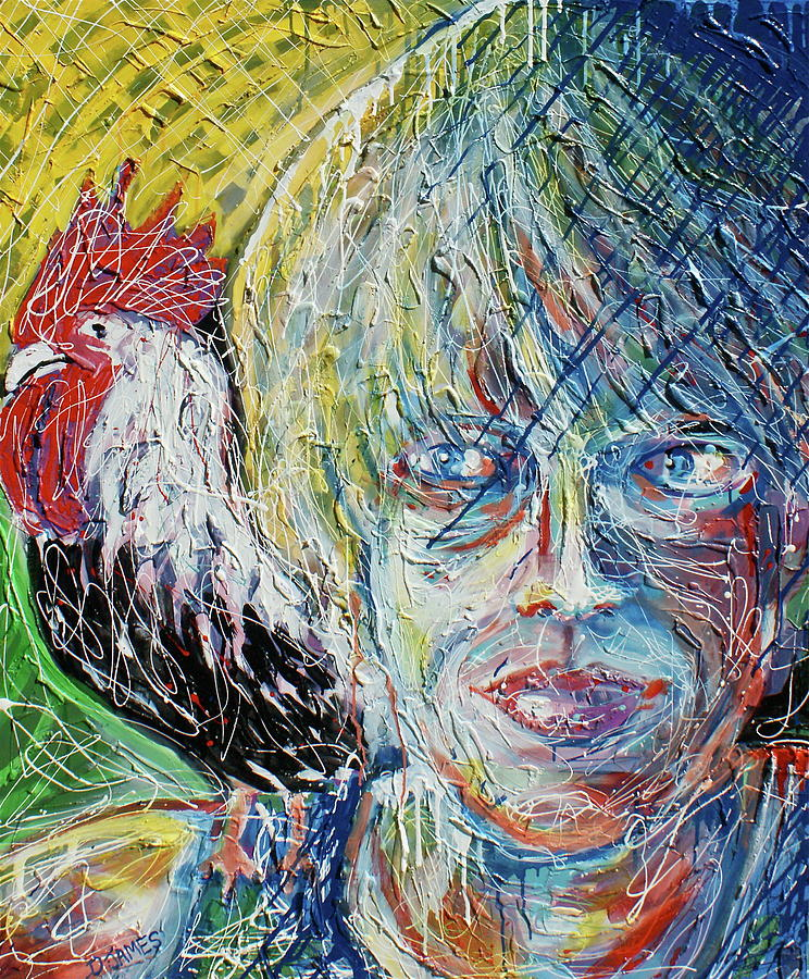 Self Portrait With Sammy Painting