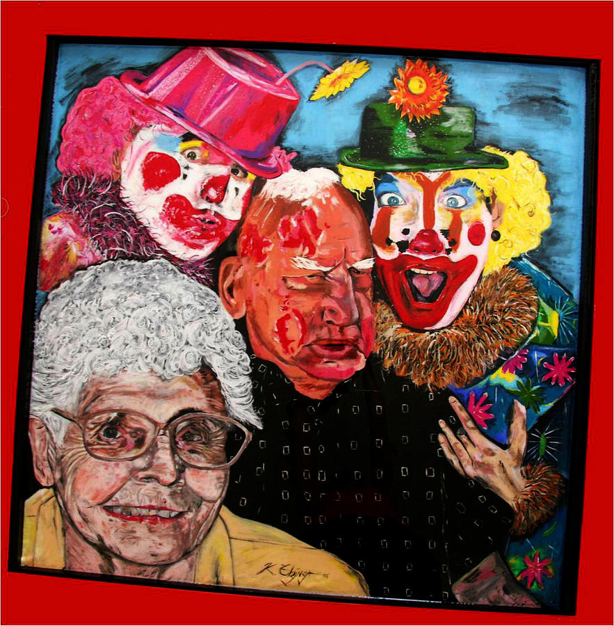 Old People Painting - Send In The Clowns by Karen Elzinga