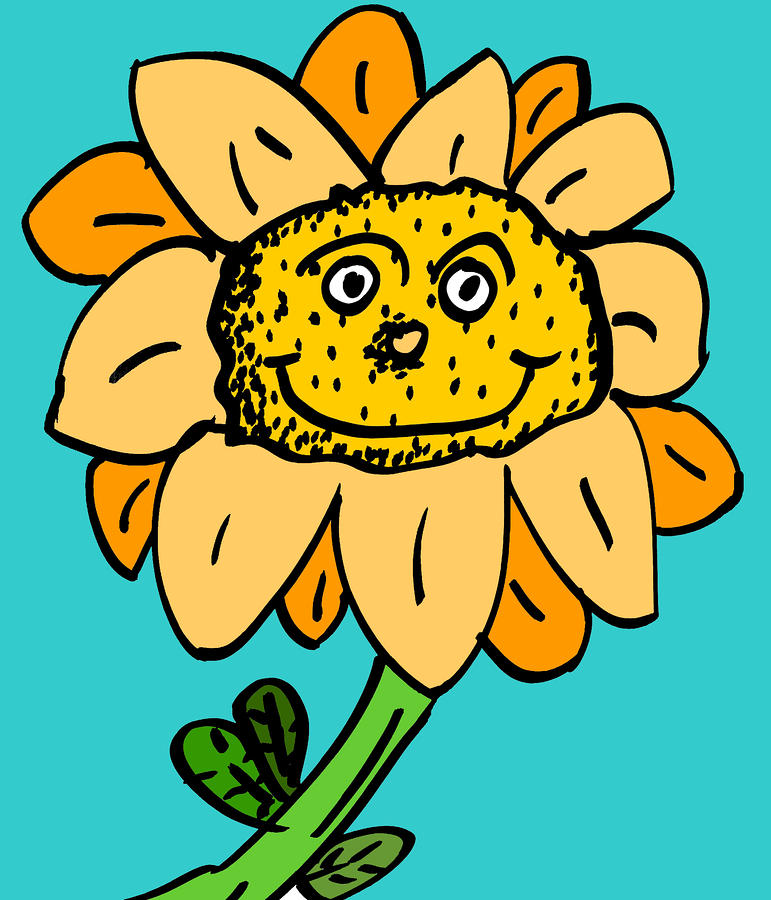 Senny The Sunflower Drawing  - Senny The Sunflower Fine Art Print