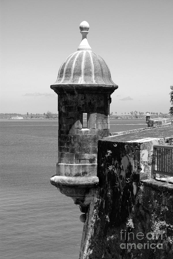 Sentry Tower Castillo San Felipe Del Morro Fortress San Juan Puerto Rico Black And White Photograph