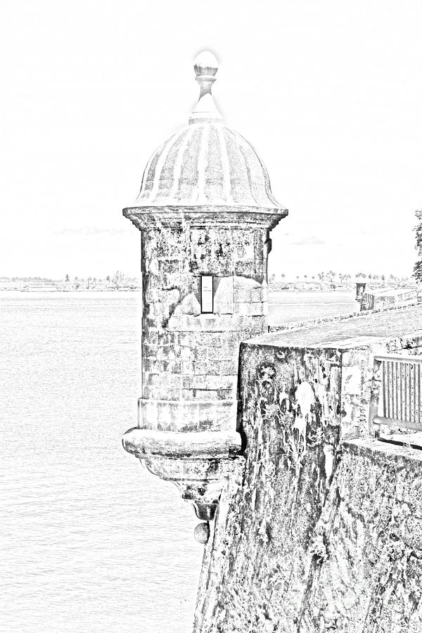 Travelpixpro Puerto Rico Digital Art - Sentry Tower Castillo San Felipe Del Morro Fortress San Juan Puerto Rico Line Art Black And White by Shawn OBrien