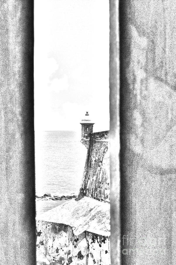 Sentry Tower View Castillo San Felipe Del Morro San Juan Puerto Rico Black And White Line Art Digital Art