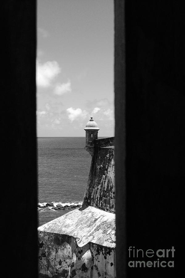 Sentry Tower View Castillo San Felipe Del Morro San Juan Puerto Rico Black And White Photograph