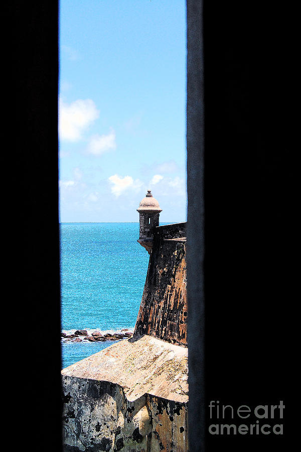 Sentry Tower View Castillo San Felipe Del Morro San Juan Puerto Rico Ink Outlines Digital Art