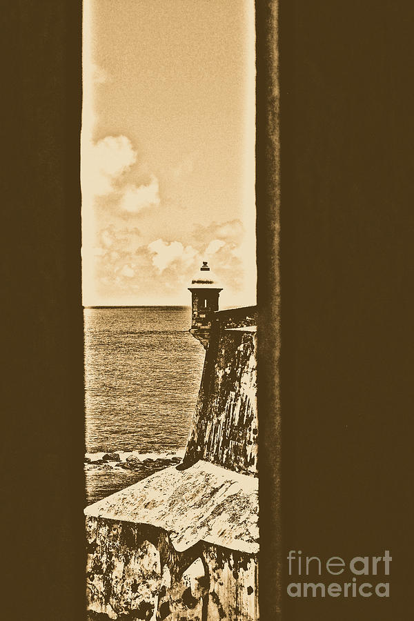 Sentry Tower View Castillo San Felipe Del Morro San Juan Puerto Rico Rustic Digital Art