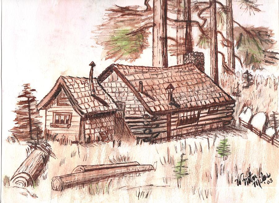 pencil drawing of log cabin joy studio design gallery