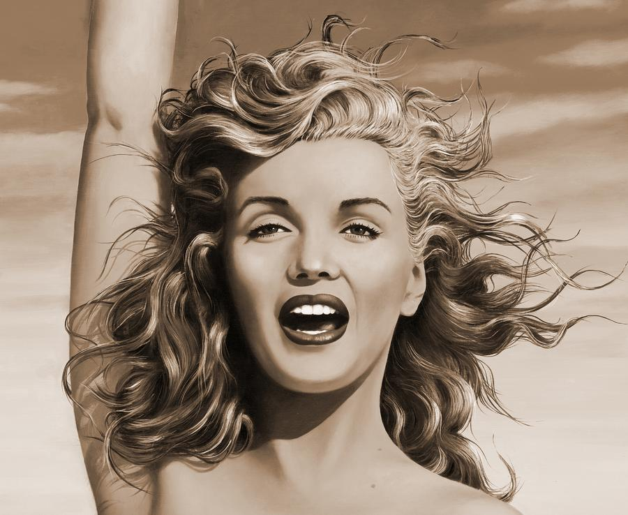 Sepia Marilyn  Painting  - Sepia Marilyn  Fine Art Print