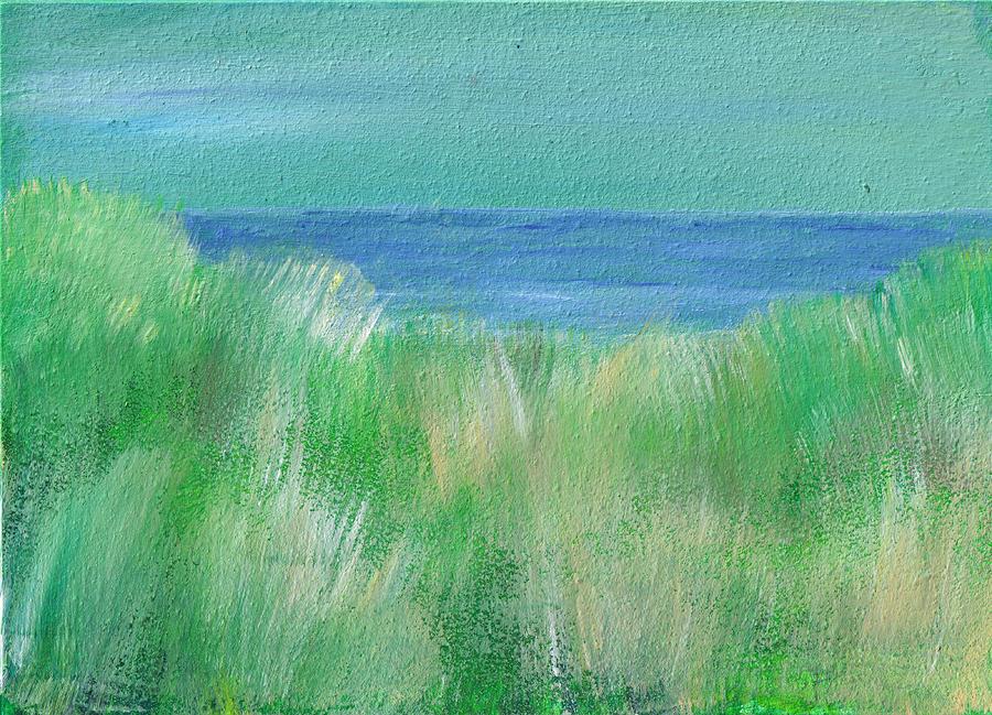Serene Beach Grass Mini Oil Painting On Masonite Painting