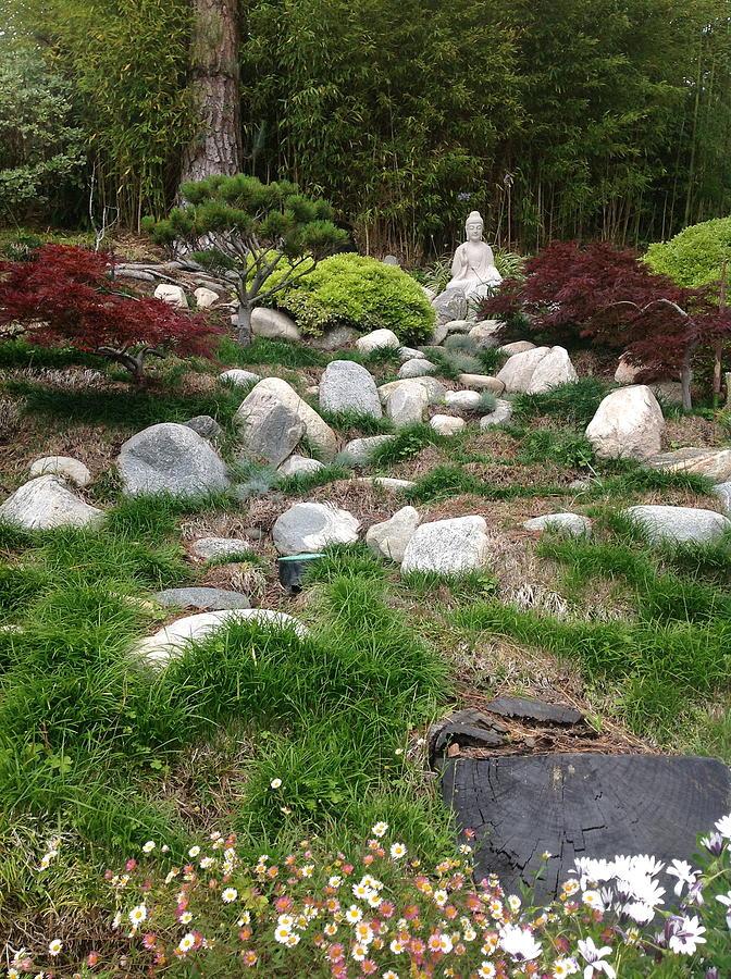 #landscape #garden #rock #white #grey #green #burning #red #burningred #trees #forest #statue #buddha #flowers #grass #japanese   Photograph - Serene Buddha by Kat Ballou