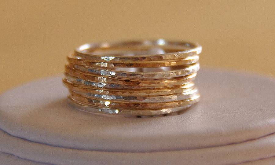 set of 9 handmade sterling silver and 14k gold fillled