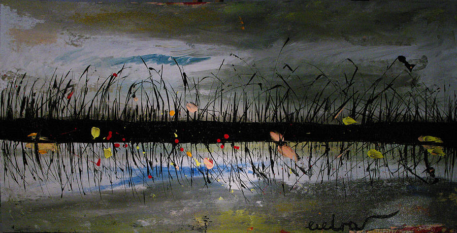 Set On The Firth Painting - Set On The Firth Marshes Of Karalino Bugaz Goodbye Winter by Alik Vetrof