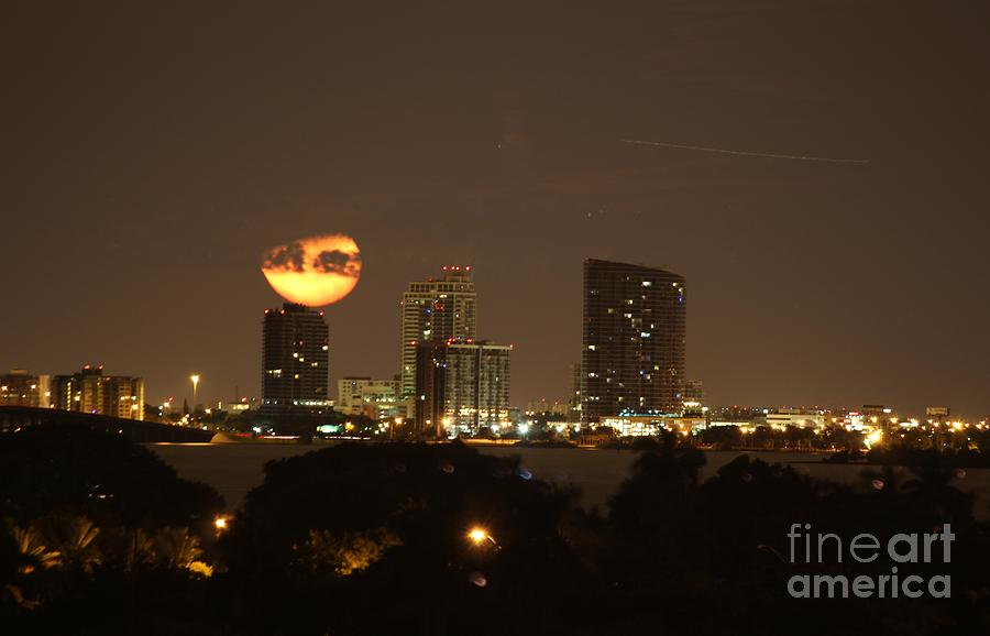 Setting Moon Over Miami Photograph