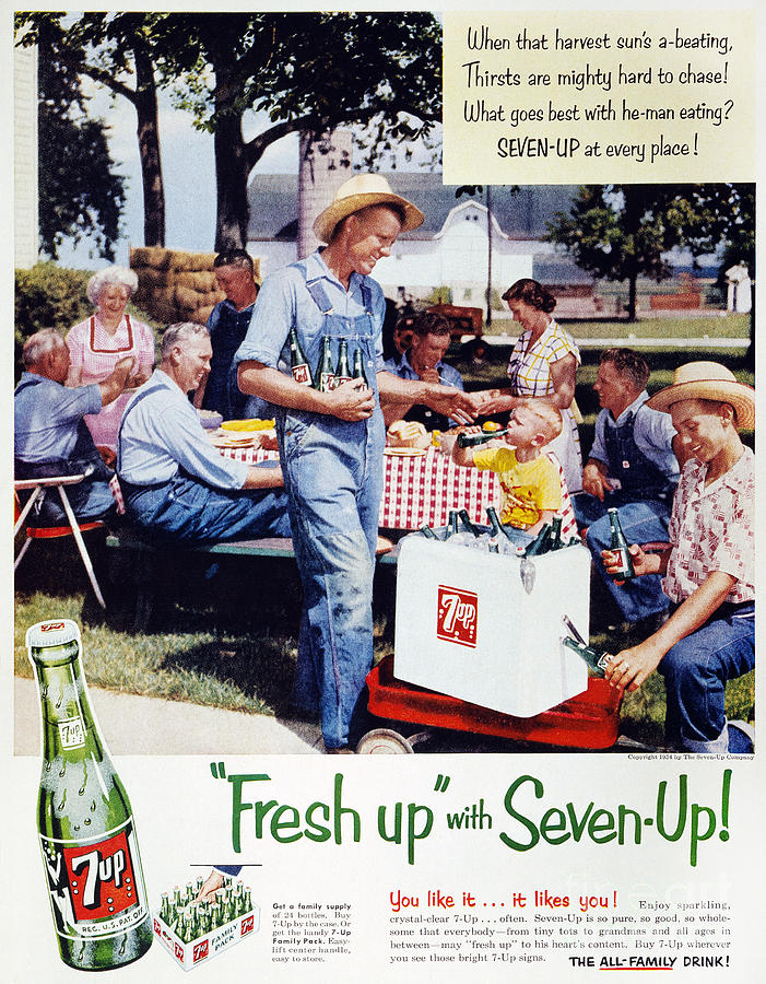 Seven-up Soda Ad, 1954 Photograph  - Seven-up Soda Ad, 1954 Fine Art Print